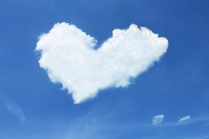 An image of a heart shaped cloud